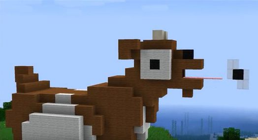En ged lavet i spillet Minecraft.