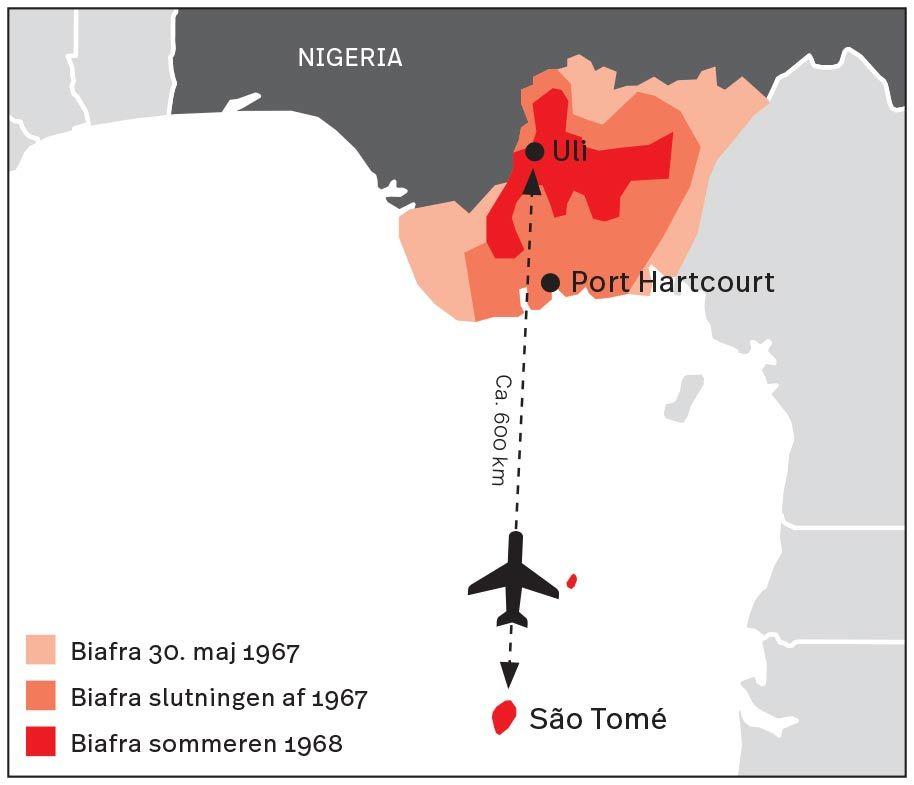 Grafisk kort over Biafra luftbroen 1967, 1968, São Tomé